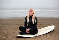 Surfer Dani Robertson at Aberavon Beach, Port Talbot, Wales, UK. Monday 13 March 2017<br /> NO SYNDICATION, NO THIRD PARTY SYNDICATION