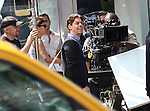 Christian Borle filming a scene from the NBC TV Show 'Smash' in Times Square, New York City on September 12, 2012