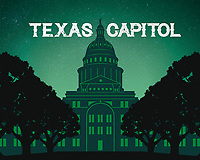 The Texas Capitol is widely recognized as one of the nation's most distinguished state capitol. Texas State Capitol silhouette fine art print in green.
