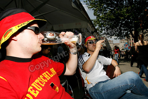 Jun 9, 2006; Munich, GERMANY; German fans Thomas Gilliar from Karlsruhe Germany and Stefan Schwabe of Bamberg Germany drink beer in downtown Germany on the opening day of the World Cup. Germany plays Costa Rica in Munich and Poland plays Ecuador in Gelsenkirchen in Group A first round action. Mandatory Credit: Ron Scheffler-US PRESSWIRE Copyright © Ron Scheffler