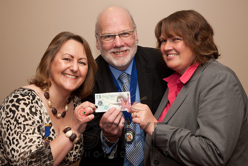 Pictured from left past president Deborah Labbate, president Steve Potts and Pamela Wright from the Bank of England