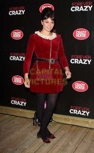 Gizzi Erskine.Forever Crazy by Crazy Horse VIP Gala Night at South Bank, London, England..September 19th 2012.full length red velvet dress white lace collar black belt tights bag purse .CAP/ROS.©Steve Ross/Capital Pictures...