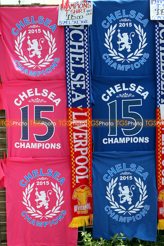 Chelsea League Champions 2015 T-shirts on sale outside Stamford Bridge - Chelsea vs Liverpool - Barclays Premier League Football at Stamford Bridge, London - 10/05/15 - MANDATORY CREDIT: Paul Dennis/TGSPHOTO - Self billing applies where appropriate - contact@tgsphoto.co.uk - NO UNPAID USE