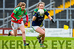Kerry's Anna Galvin shows Mayo marker Sarah Tierney a clean pair of heels