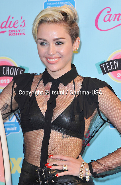 Miley Cyrus  in the Press Room at the Teen Choice Awards at the Universal Amphitheatre In Los Angeles.