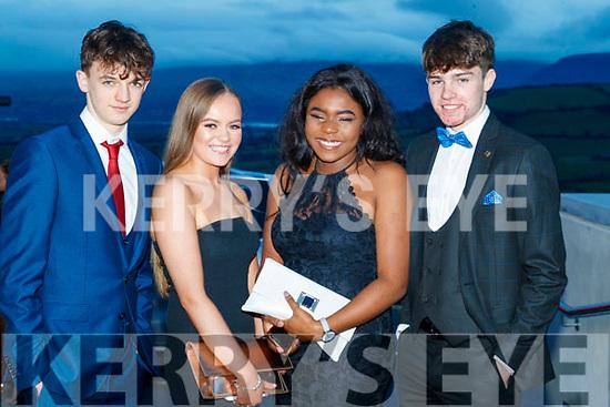 Louis Byrne, Clodagh Kirby, Ella Itsede and Luke O'Carroll,  Mercy Mounthawk Secondary School, Tralee, enjoying the TY Ball at Ballyroe Heights Hotel, Tralee, on Saturday night last.