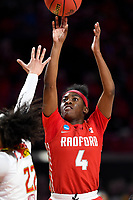 College Park, MD - March 23, 2019: Radford Highlanders guard Khiana Johnson (4) shoots a jump shot during first round action of game between Radford and Maryland at Xfinity Center in College Park, MD. Maryland defeated Radford 73-51. (Photo by Phil Peters/Media Images International)