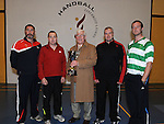 Former world handball champion Joey Maher pictured with Alan Smith, Dessie Keegan, Tom Sheridan and Stuart Heslin at the new handball courts at O'Raghalligh's. Photo: Colin Bell/pressphotos.ie