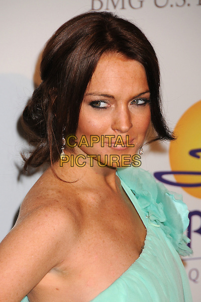 LINDSAY LOHAN.Clive Davis 2008 Pre-Grammy Awards Party at the Beverly Hilton Hotel, Beverly Hills, California, USA..February 9th, 2008.headshot portrait blue sheer one shoulder.CAP/ADM/BP.©Byron Purvis/Admedia/Capital Pictures