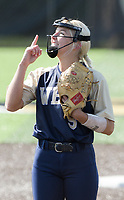 NWA Democrat-Gazette/CHARLIE KAIJO Bentonville West High School Emma Wood (5) reacts during a softball game, Friday, May 10, 2019 at Tiger Athletic Complex at Bentonville High School in Bentonville. Bentonville West High School defeated Bryant High School 5-3