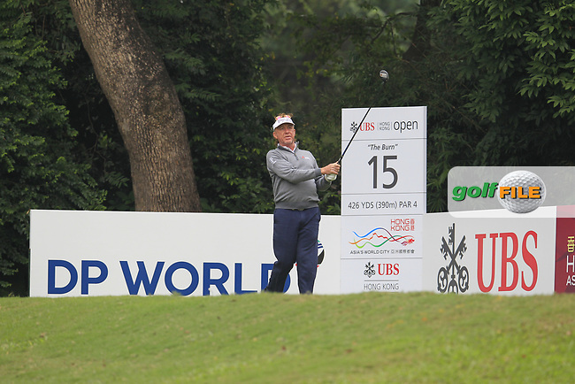Miguel Angel Jimenez (ESP) on the 15th tee during Round 2 of the UBS Hong Kong Open, at Hong Kong golf club, Fanling, Hong Kong. 24/11/2017<br /> Picture: Golffile | Thos Caffrey<br /> <br /> <br /> All photo usage must carry mandatory copyright credit     (&copy; Golffile | Thos Caffrey)