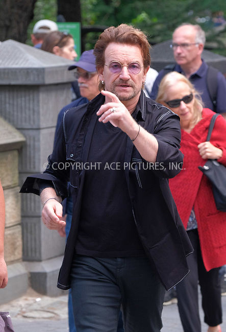 www.acepixs.com<br /> <br /> September 8 2017, New York City<br /> <br /> Singer Bono walks in Midtown Manhattan on September 8 2017 in New York City<br /> <br /> By Line: Curtis Means/ACE Pictures<br /> <br /> <br /> ACE Pictures Inc<br /> Tel: 6467670430<br /> Email: info@acepixs.com<br /> www.acepixs.com
