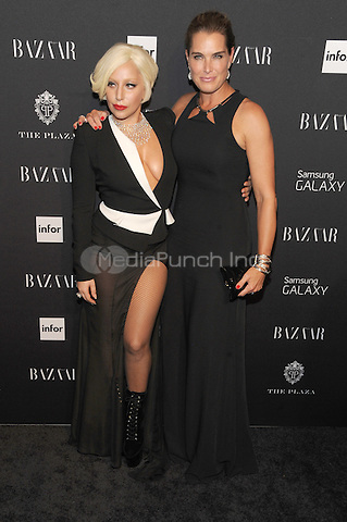 New York, NY-September 5: Lady Gaga and Brooke shields attend Harper's Baazar Celebrates Icons By Carine Roitfeld on September 5, 2014 at the Plaza Hotel in New York City. Credit: John Palmer/MediaPunch
