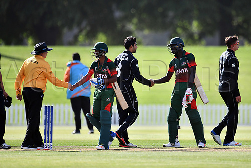 17th January 2018, Hagley Oval, Christchurch, New Zealand; Under 19 Cricket World Cup, New Zealand versus Kenya;  Players shake hands with each other after New Zealand's victory over Kenya by 243 runs