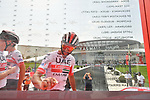 Fernando Gaviria (COL) UAE Team Emirates signs on before the start of Stage 2 of the 2019 UAE Tour, running 184km form Yas Island Yas Mall to Abu Dhabi Breakwater Big Flag, Abu Dhabi, United Arab Emirates. 25th February 2019.<br /> Picture: LaPresse/Massimo Paolone | Cyclefile<br /> <br /> <br /> All photos usage must carry mandatory copyright credit (© Cyclefile | LaPresse/Massimo Paolone)