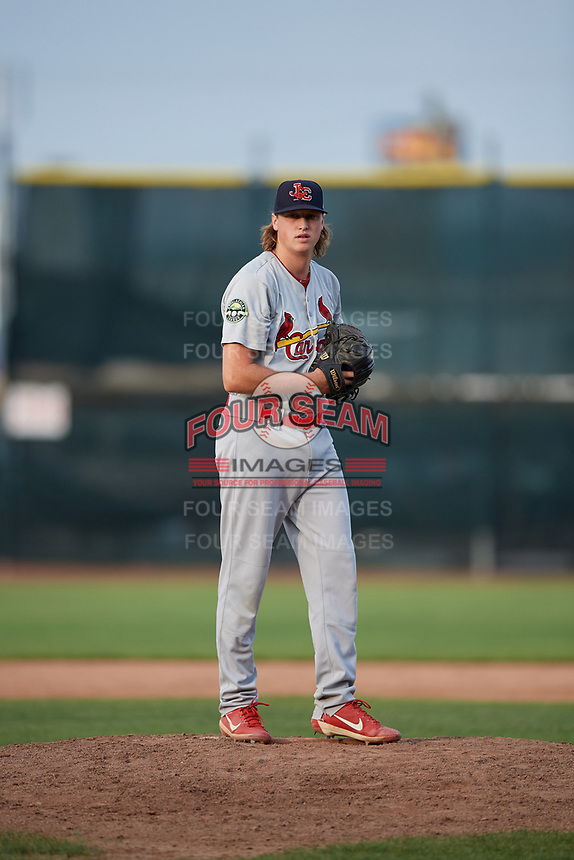 Johnson City Cardinals relief pitcher Evan Sisk (22) gets ready to deliver a pitch during the first game of a doubleheader against the Princeton Rays on August 17, 2018 at Hunnicutt Field in Princeton, Virginia.  Johnson City defeated Princeton 6-4.  (Mike Janes/Four Seam Images)