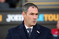 Swansea manager Paul Clement stands on the touch line during the Premier League match between Swansea City and Bournemouth at The Liberty Stadium, Swansea, Wales, UK. Saturday 25 November 2017