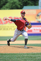 Altoona Curve pitcher Ryan Beckman (47) during game against the New Britain Rock Cats  at New Britain Stadium on June 25, 2014 in New Britain, Connecticut. New Britain defeated Altoona 3-1.  (Tomasso DeRosa/Four Seam Images)