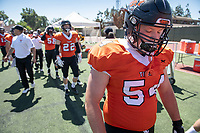 #54 Jackson Caudle<br /> The Occidental Tigers football team plays against Willamette University in Jack Kemp Stadium on Saturday, Sept. 15, 2018. It was their first home game of the season and second game of the season. Willamette won, 25-6.<br /> (Photo by Marc Campos, Occidental College Photographer)