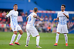 "Malaga CF Pablo Fornals, Sandro Ramirez and Juan Carlos ""Juankar"" Perez celebrating a goal during a match of La Liga Santander at Vicente Calderon Stadium in Madrid. October 29, Spain. 2016. (ALTERPHOTOS/BorjaB.Hojas)"