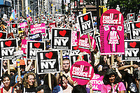 Thousands gather at City Hall on August 28, 2004 in New York City for the Planned Parenthood March for abortion rights during the Republican National Convention.