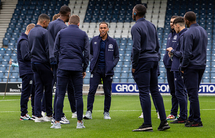Blackburn Rovers' Elliott Bennett pictured with his team mates before the match <br /> <br /> Photographer Andrew Kearns/CameraSport<br /> <br /> The EFL Sky Bet Championship - Queens Park Rangers v Blackburn Rovers - Saturday 5th October 2019 - Loftus Road - London<br /> <br /> World Copyright © 2019 CameraSport. All rights reserved. 43 Linden Ave. Countesthorpe. Leicester. England. LE8 5PG - Tel: +44 (0) 116 277 4147 - admin@camerasport.com - www.camerasport.com