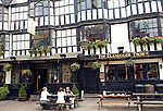 The Llandoger Trow pub, Bristol. According to tradition where  Daniel Defoe met Alexander Selkirk, his inspiration for Robinson Crusoe the inspiration for the Admiral Benbow pub in Treasure Island.