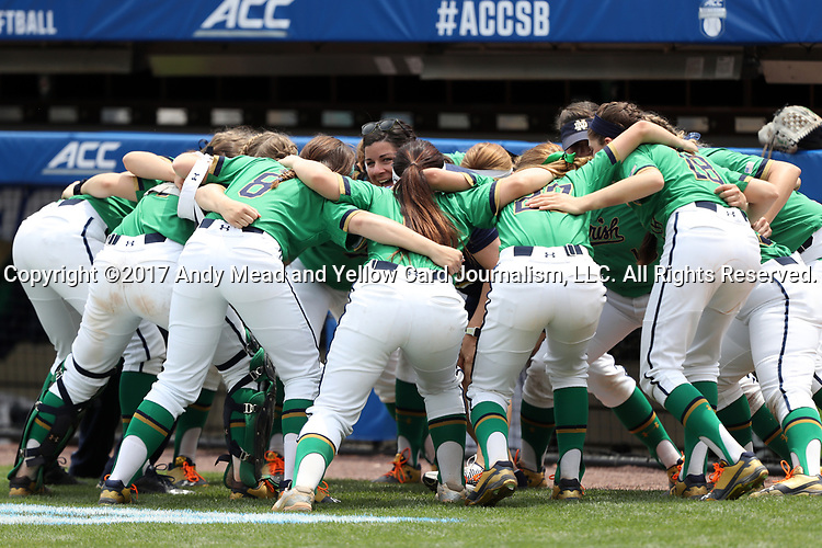 CHAPEL HILL, NC - MAY 11: Notre Dame players huddle before the game. The #4 Boston College Eagles played the #5 University of Notre Dame Fighting Irish on May 11, 2017, at Anderson Softball Stadium in Chapel Hill, NC in a 2017 Atlantic Coast Conference Tournament Quarterfinal Softball game. Notre Dame won the game 9-5 in eight innings.