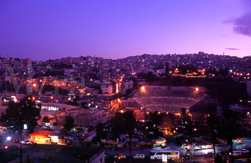The Roman Amphitheater at dusk. Amman, Jordan. The Middle East