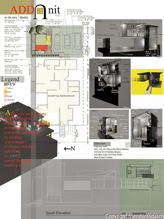 Frank Bell, Architect, submitted this Add A Unit ADU in the Professional category for FSDA's ADU Competition 2004.