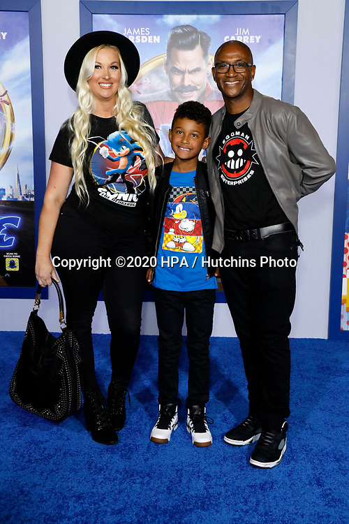 "LOS ANGELES - FEB 12:  Amanda Moore, Isaiah Davidson, Tommy Davidson at the ""Sonic The Hedgehog"" Special Screening at the Village Theater on February 12, 2020 in Westwood, CA"
