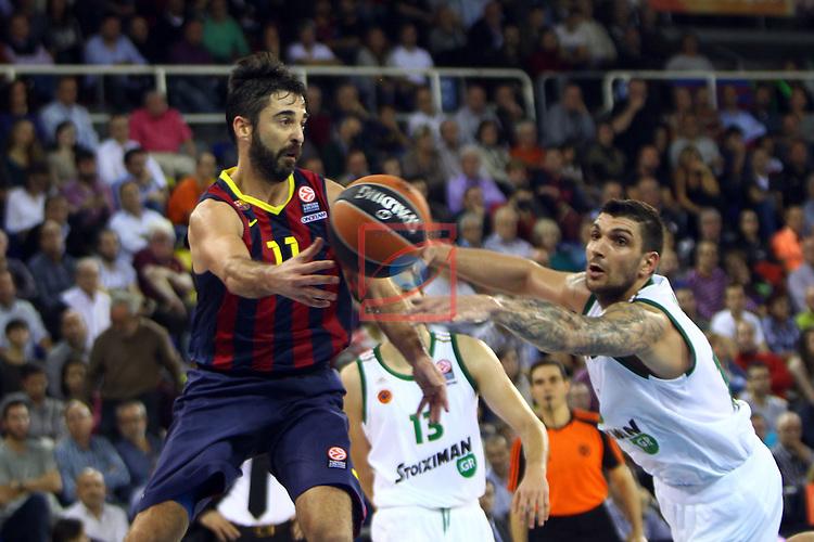 Euroleague Basketball-Regular Season Round 5.<br /> FC Barcelona vs Panathinaikos Athens: 78-69.<br /> Juan Carlos Navarro vs Esteban Batista.