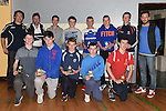 Under 16 players pictured with Ross Gaynor at Ardee Celtic underage awards night in Ardee Parish Centre. Photo:Colin Bell/pressphotos.ie