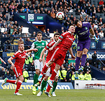 Hibs keeper Ofir Marciano almost scores with a header in the dying seconds