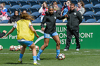 Bridgeview, IL - Saturday April 22, 2017: Samantha Johnson during a regular season National Women's Soccer League (NWSL) match between the Chicago Red Stars and FC Kansas City at Toyota Park.