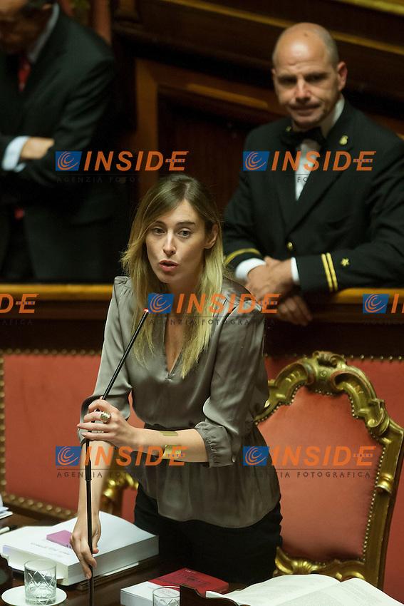 Maria Elena Boschi<br /> Roma 01-08-2014  Senato. Discussione sul DdL Riforme costituzionali che prevede anche la riforma del Senato. <br /> Photo Samantha Zucchi Insidefoto