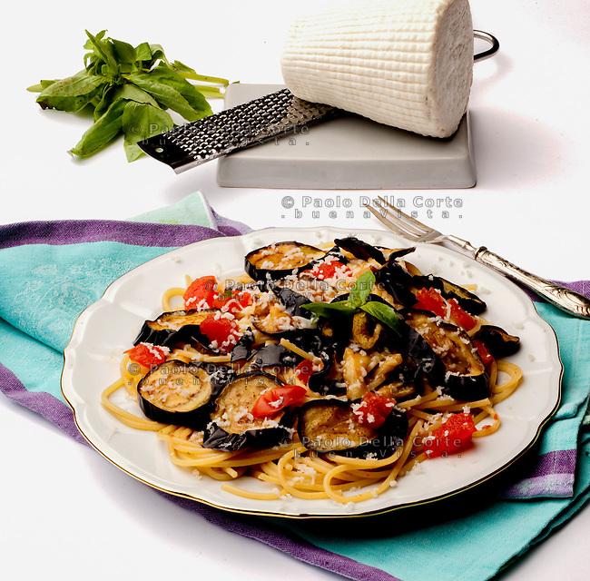 Pasta alla Norma with ricotta and eggplants.
