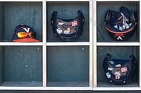 Virginia Cavaliers helmet rack on June 19, 2015 at TD Ameritrade Park in Omaha, Nebraska. (Andrew Woolley/Four Seam Images)