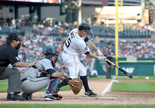 June 01, 2011:  Detroit Tigers third baseman Brandon Inge (#15) hits the ball in game action during MLB game between the Minnesota Twins and the Detroit Tigers at Comerica Park in Detroit, Michigan.  The Tigers defeated the Twins 4-2.