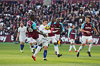 Eden Hazard of Chelsea surrounded by West Ham Players during the Premier League match between West Ham United and Chelsea at the Olympic Park, London, England on 9 December 2017. Photo by Andy Rowland.
