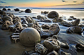 Like something from the dawn of time these septarian concretions stand defiant along the Moeraki foreshore ready to absorb the fury of southern seas..This New Zealand Fine Art Landscape Print, available in four sizes on either archival Hahnemuhle Fine Art Pearl paper or canvas, is printed using Epson K3 Ultrachrome inks and comes with a lifetime guarantee against fading..All prints are signed and numbered on the lower margin and come with my 100% money back guarantee on the purchase price, should you not be  completely happy with the quality of the delivered print or canvas.