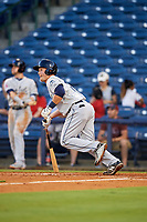 Mobile BayBears first baseman Matt Thaiss (21) runs to first base during a game against the Mississippi Braves on May 7, 2018 at Trustmark Park in Pearl, Mississippi.  Mobile defeated Mississippi 5-0.  (Mike Janes/Four Seam Images)