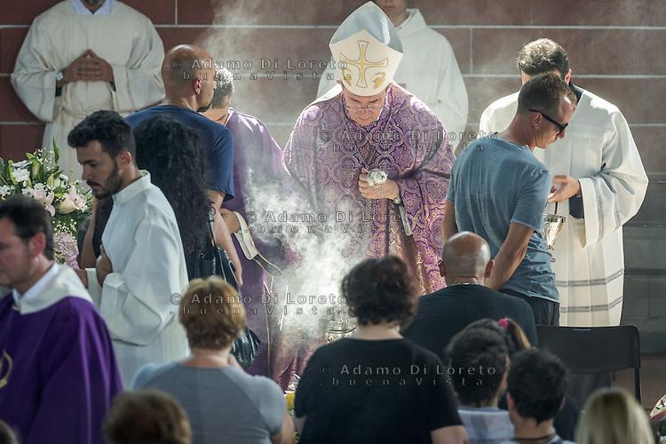 Mons. Giovanni D'Ercole during the Funeral earthquake on PalaSport Monticelli in Ascoli Piceno  August 27, 2016, in Marche, Italy. Photo by Adamo Di Loreto