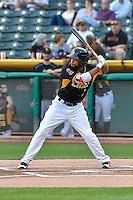 Sherman Johnson (7) of the Salt Lake Bees at bat against the Albuquerque Isotopes in Pacific Coast League action at Smith's Ballpark on August 30, 2016 in Salt Lake City, Utah. The Bees defeated the Isotopes 3-2. (Stephen Smith/Four Seam Images)