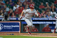 Logan Kohler (13) of the Oklahoma Sooners hustles down the first base line against the LSU Tigers in game seven of the 2020 Shriners Hospitals for Children College Classic at Minute Maid Park on March 1, 2020 in Houston, Texas. The Sooners defeated the Tigers 1-0. (Brian Westerholt/Four Seam Images)