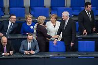 19. Sitzung des Deutschen Bundestag am Mittwoch den 14. Maerz 2018.<br /> Nachdem Angela Merkel zum vierten Mal in Folge zur Bundeskanzlerin gewaehlt wurde, kamen nach ihrer Ernennung durch den Bundespraesidenten die neuen Ministerinnen und Minster in den Bundestag.<br /> Im Bild vordere Reihe vlnr.: Peter Altmaier, Bundesminister fuer Wirtschaft und Energie; Heiko Maas, Bundesminister des Auswaertigen.<br /> Stehend vlnr.: Bundeskanzlerin Angela Merkel; Monika Gruetters, Staatsministerin fuer Kultur und Medien; Horst Seehofer, Bundesminister des Inneren, Bau und Heimat.<br /> Hintere Reihe vlnr.: Jens Spahn, Bundesminister fuer Gesundheit; Franziska Giffey, Bundesministerin fuer Familie, Senioren, Frauen und Jugend; Hubertus Heil, Bundesminister fuer Arbeit und Soziales.<br /> 14.3.2018, Berlin<br /> Copyright: Christian-Ditsch.de<br /> [Inhaltsveraendernde Manipulation des Fotos nur nach ausdruecklicher Genehmigung des Fotografen. Vereinbarungen ueber Abtretung von Persoenlichkeitsrechten/Model Release der abgebildeten Person/Personen liegen nicht vor. NO MODEL RELEASE! Nur fuer Redaktionelle Zwecke. Don't publish without copyright Christian-Ditsch.de, Veroeffentlichung nur mit Fotografennennung, sowie gegen Honorar, MwSt. und Beleg. Konto: I N G - D i B a, IBAN DE58500105175400192269, BIC INGDDEFFXXX, Kontakt: post@christian-ditsch.de<br /> Bei der Bearbeitung der Dateiinformationen darf die Urheberkennzeichnung in den EXIF- und  IPTC-Daten nicht entfernt werden, diese sind in digitalen Medien nach §95c UrhG rechtlich geschuetzt. Der Urhebervermerk wird gemaess §13 UrhG verlangt.]