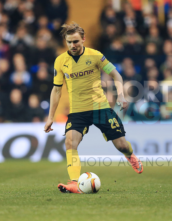 Dortmund's Marcel Schmelzer in action during the Europa League match at White Hart Lane Stadium.  Photo credit should read: David Klein/Sportimage