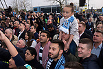 Manchester City 4, Tottenham Hotspur 3, 17/04/2019. Etihad Stadium, Champions League. Home supporters filming their team arriving outside the Etihad Stadium before Manchester City played Tottenham Hotspur in a Champions League quarter final, second league. The first leg was played the previous week at Spurs' new stadium which they won 1-0. The second lead resulted in a 4-3 win for City however Tottenham progressed to the semi-finals against Ajax on the away goal rule as the teams finished 4-4 on aggregate. Photo by Colin McPherson.