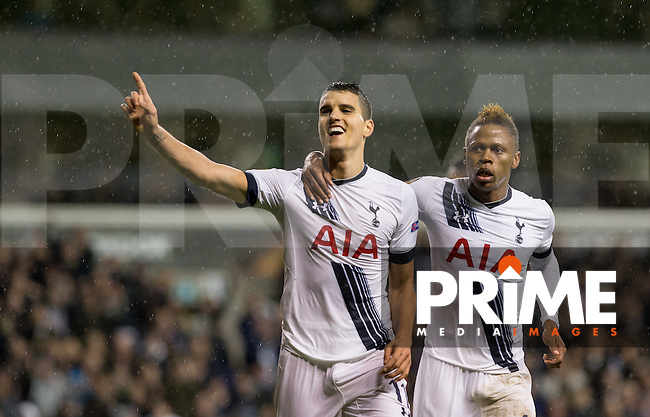 Erik Lamela of Tottenham Hotspur celebrates his hat trick with Clinton N'Jie of Tottenham Hotspur during the UEFA Europa League group match between Tottenham Hotspur and Monaco at White Hart Lane, London, England on 10 December 2015. Photo by Andy Rowland.