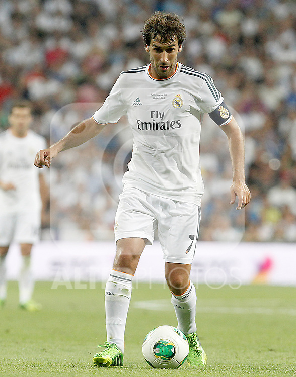 Real Madrid's Raul Gonzalez Blanco celebrates goal during Santiago Bernabeu Trophy.Tribute Match to Raul Gonzalez Blanco.August 22,2013. (ALTERPHOTOS/Acero)